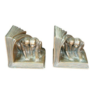 Jenning Brothers Monkey Bookends- A Pair