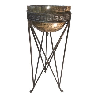 Maitland-Smith Iron Pedestal Plant Stand With Custom Bowl For Sale