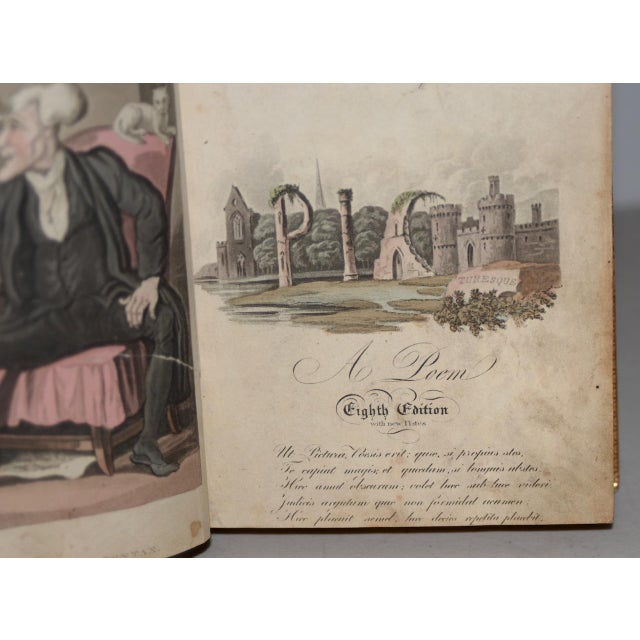 Leather Early 19th Century Leather-Bound Books With Engravings by Rowlandson - a Pair For Sale - Image 7 of 13