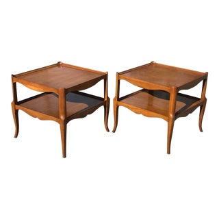 French Style Cherry Square Side Tables by Fine Arts Furniture Grand Rapids - a Pair For Sale