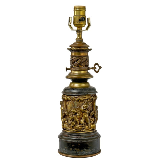 1930's Brass Table Lamp With a Cherub's in the Forest Tableau For Sale - Image 13 of 13