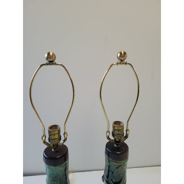 1970s Faux Bamboo Green Glazed Ceramic Lamps - a Pair For Sale - Image 4 of 6
