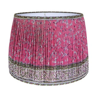 Rose Red/Green Silk Sari Gathered Lamp Shade For Sale