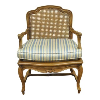 Vintage Mid Century French Louis XV Style Caned Back Carved Walnut Fireside Lounge Arm Chair For Sale