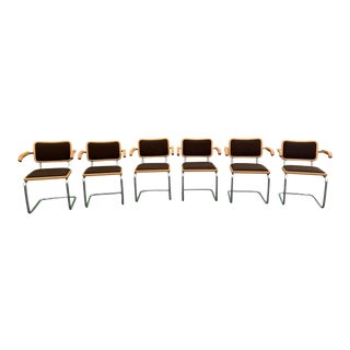 Vintage Breuer Cesca Chrome Dining Arm Chairs - Set of 6 For Sale