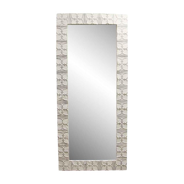 White Ivy Clover Antique Ceiling Tin Mirror For Sale