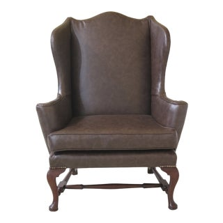 1970s Vintage Kittinger Cw-44 Colonial Williamsburg Leather Wing Chair For Sale