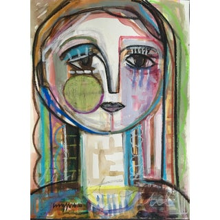 Mid-Century Abstract Woman Painting For Sale