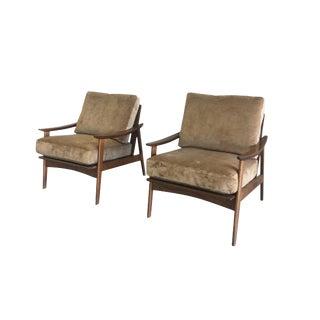 Danish Modern Maple Armchairs With New Schumacher Velvet - a Pair For Sale