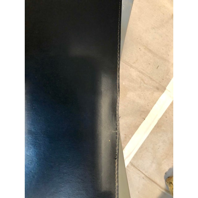Black Late 20th Century Jansen Style Sling Leather Seat Folding Stools- A Pair For Sale - Image 8 of 9