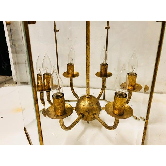 1980s Gilt Metal Lantern Chandelier For Sale - Image 5 of 7