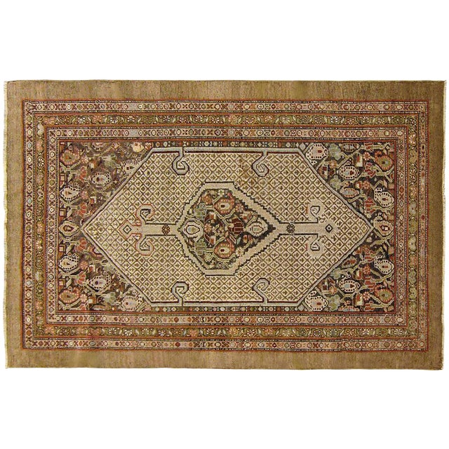 "1910s Antique Persian Hamadan Camel Hair Oriental Rug-3'11'x5'2"" For Sale"