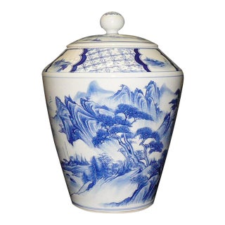 Chinese Porcelain Blue White Water Mountain Scenery Container