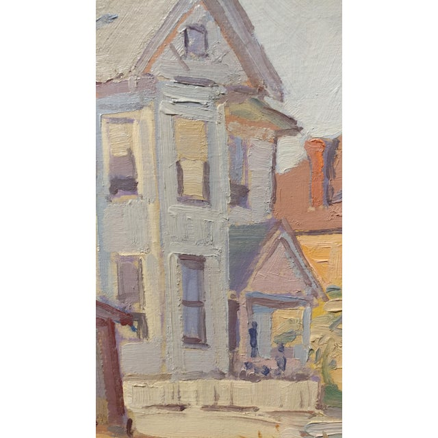 """1950s Fritz Kocher """"Sunset Blvd and Bunkerhill L.A. 1959"""" Original Oil Painting For Sale - Image 5 of 11"""