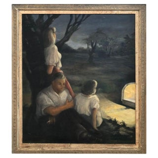 Very Large 1940's Signed Genre Painting For Sale