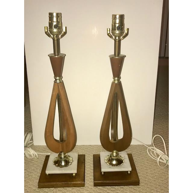 Mid-Century Modern Wood Table Lamps - A Pair For Sale - Image 4 of 7