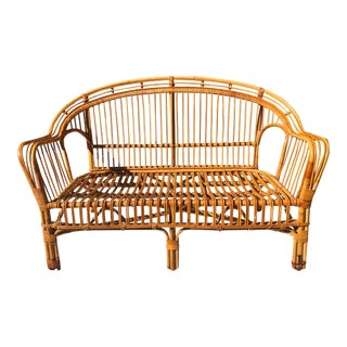 Franco Albini Style Mid-Century Brighton Style Bamboo / Rattan Bentwood Loveseat For Sale