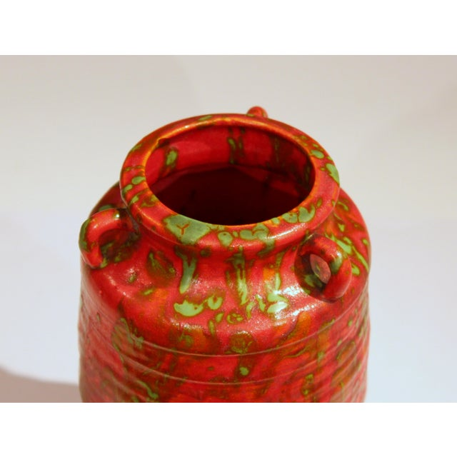 Ceramic Awaji Pottery Atomic Chrome Red Art Deco Hot Lava Japanese Vase For Sale - Image 7 of 11