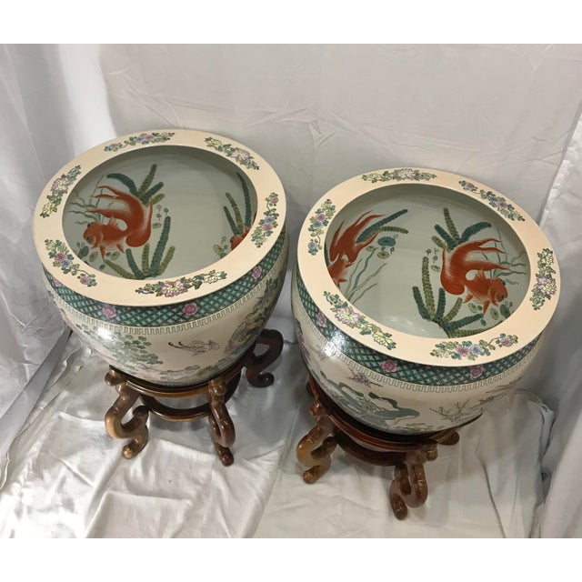 20th Century Chinese Qing Famille Verte Porcelain Jardinieres / Planters - a Pair For Sale - Image 9 of 13