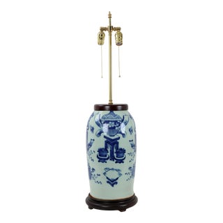 Vintage 19 Century Double Bulb Pull Switch Blue and White Celadon Porcelain Lamp Study Room Designting Vase on Pedestal For Sale