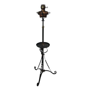Antique Vintage Copper Iron Rewired Standing Decorative Oil Floor Lamp For Sale