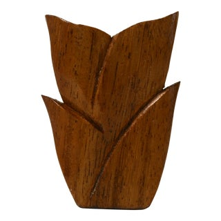 Mid Century Modern Wood Tulip Candle Holder For Sale