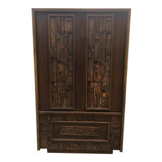 Mid Century Brutalist Pueblo Lane Armoire Tall Dresser For Sale