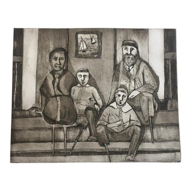 """Vintage """"Family Portrait"""" Original Lithograph - Image 1 of 6"""