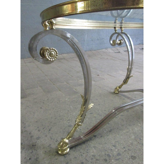 Maison Jansen French Polished Steel and Brass Coffee Table For Sale - Image 4 of 9