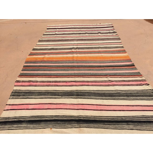 Vintage Moroccan Flat-Weave Stripe Tribal Rug For Sale - Image 10 of 10