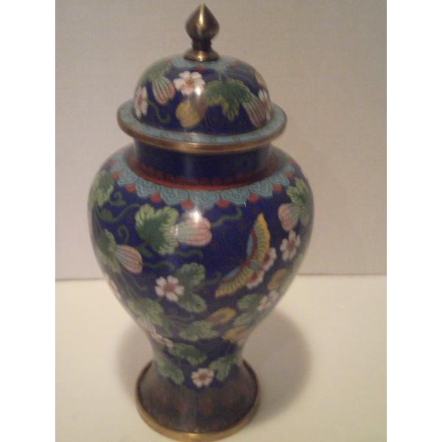 Cobalt Blue Cloisonne Covered Ginger Jar - Image 3 of 11