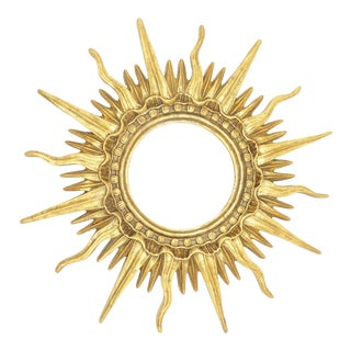 French Gold Gilded Sunburst Mirror For Sale