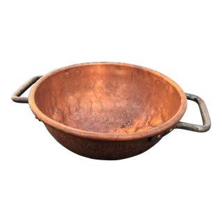 Antique Copper Riveted Handle Candy Bowl For Sale
