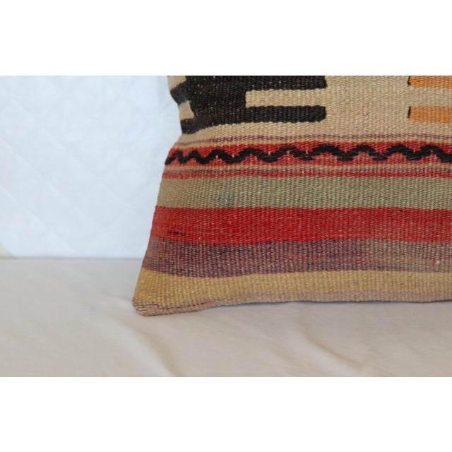 "Turkish Vintage Kilim Pillowcase - 16"" x 16"" - Image 3 of 6"