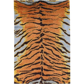 COntemporary Silk Tiger Rug by Carini, 9'x12' For Sale