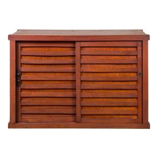 Japanese 19th Century Meiji Period Keyaki Wood Tansu Cabinet with Sliding Doors For Sale
