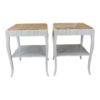 Painted White Provincial Marble Top Living Room End Tables - A Pair
