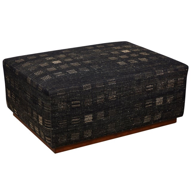 Handwoven Indian Fabric Upholstered Ottoman For Sale - Image 10 of 10