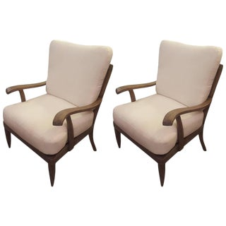 Pair of French 1950s Cerused-Oak Armchairs For Sale