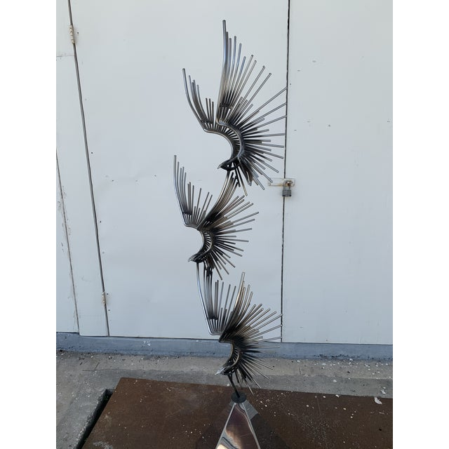 Metal 6 Foot Eagles in Flight Sculpture by Curtis Jere For Sale - Image 7 of 11