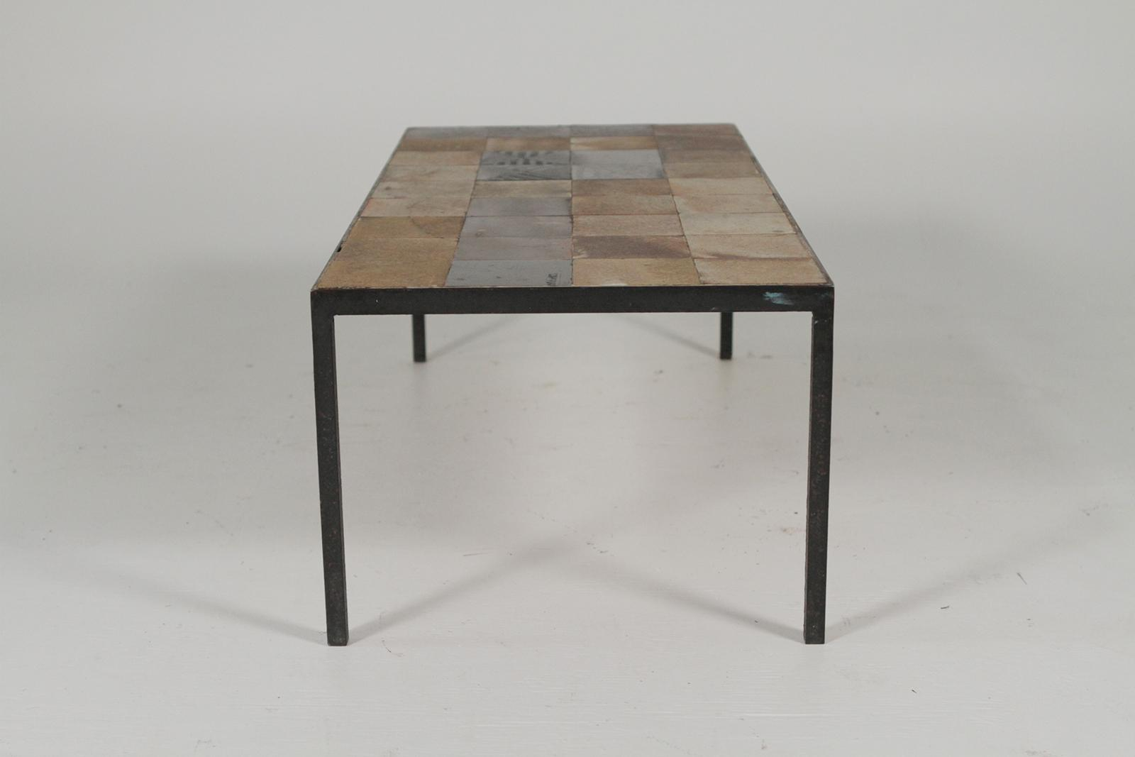 1960s Vintage Iron And Tile Coffee Table For Sale   Image 4 Of 8