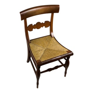 Vintage Rush Seat Wood Side Chair For Sale