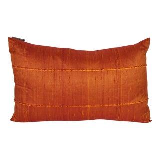 Orange Raw Silk Lumbar Pillows - A Pair