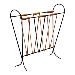1950s Midcentury Iron Magazine Rack For Sale