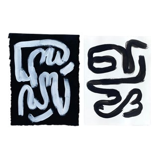 Black and White Pair of Paintings on Paper For Sale