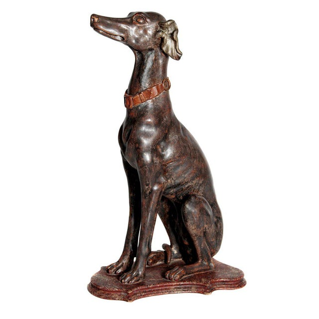 19th Century Italian Carved Wood Seated Greyhound Sculpture For Sale - Image 13 of 13