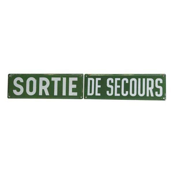 Late 20th Century Vintage Sortie De Secours Sign Set - 2 Pc. For Sale - Image 5 of 5