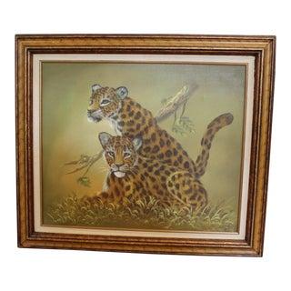 Leopard Cub Original Painting, Framed For Sale