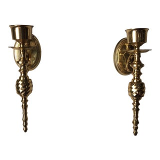Pair of Classic Brass Sconces For Sale