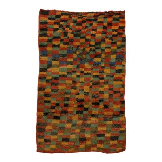 Vintage Berber Moroccan Rug with Checkerboard Design and Modern Style For Sale